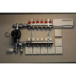 Värmestyrning golv komplett system - 6 kretsar - analog